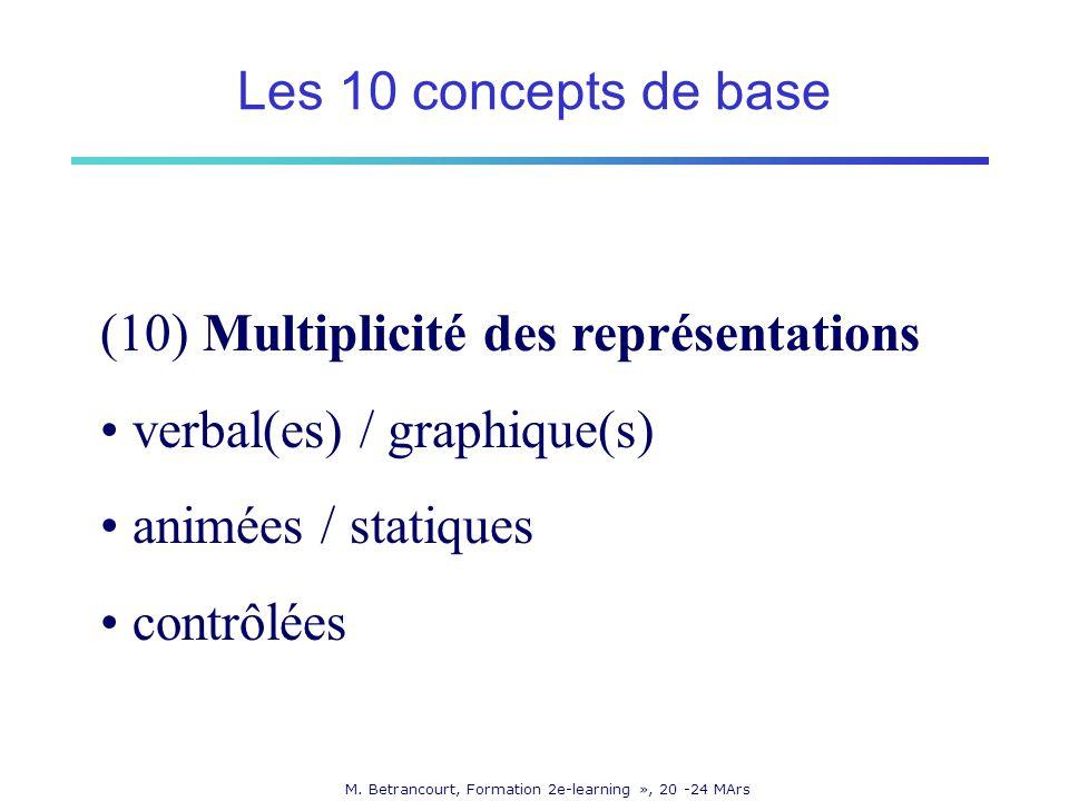 M. Betrancourt, Formation 2e-learning », 20 -24 MArs (10) Multiplicité des représentations verbal(es) / graphique(s) animées / statiques contrôlées Le