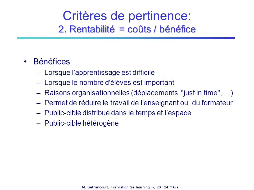 M. Betrancourt, Formation 2e-learning », 20 -24 MArs 2.