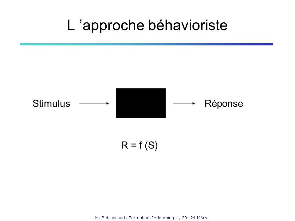 M. Betrancourt, Formation 2e-learning », 20 -24 MArs L approche béhavioriste StimulusRéponse R = f (S)