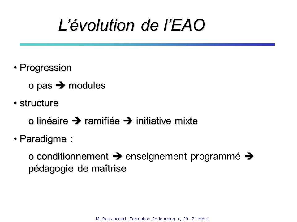 M. Betrancourt, Formation 2e-learning », 20 -24 MArs Progression Progression o pas modules structure structure o linéaire ramifiée initiative mixte Pa