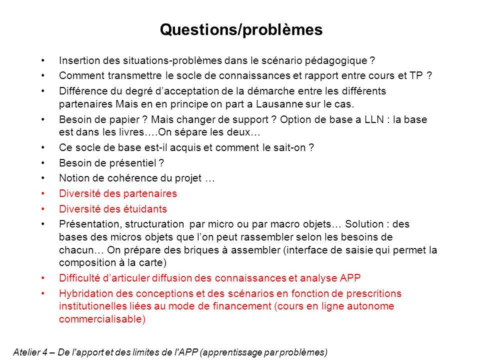 Questions/problèmes Insertion des situations-problèmes dans le scénario pédagogique .
