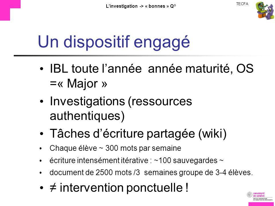 TECFA Linvestigation -> « bonnes » Q° Un dispositif engagé IBL toute lannée année maturité, OS =« Major » Investigations (ressources authentiques) Tâc