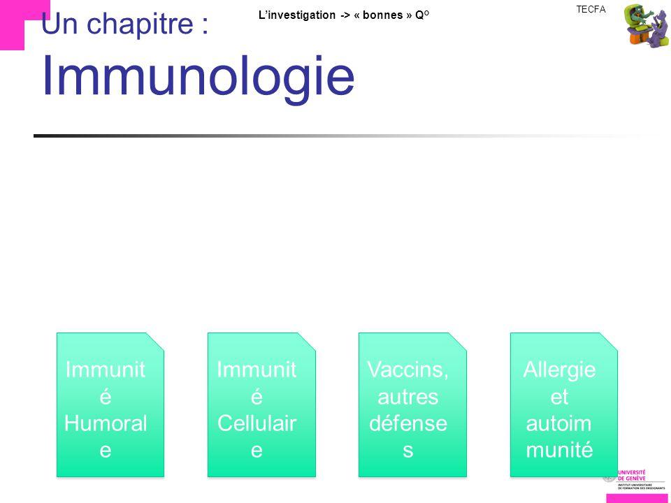 TECFA Linvestigation -> « bonnes » Q° Un chapitre : Immunologie Immunit é Humoral e Immunit é Cellulair e Vaccins, autres défense s Allergie et autoim