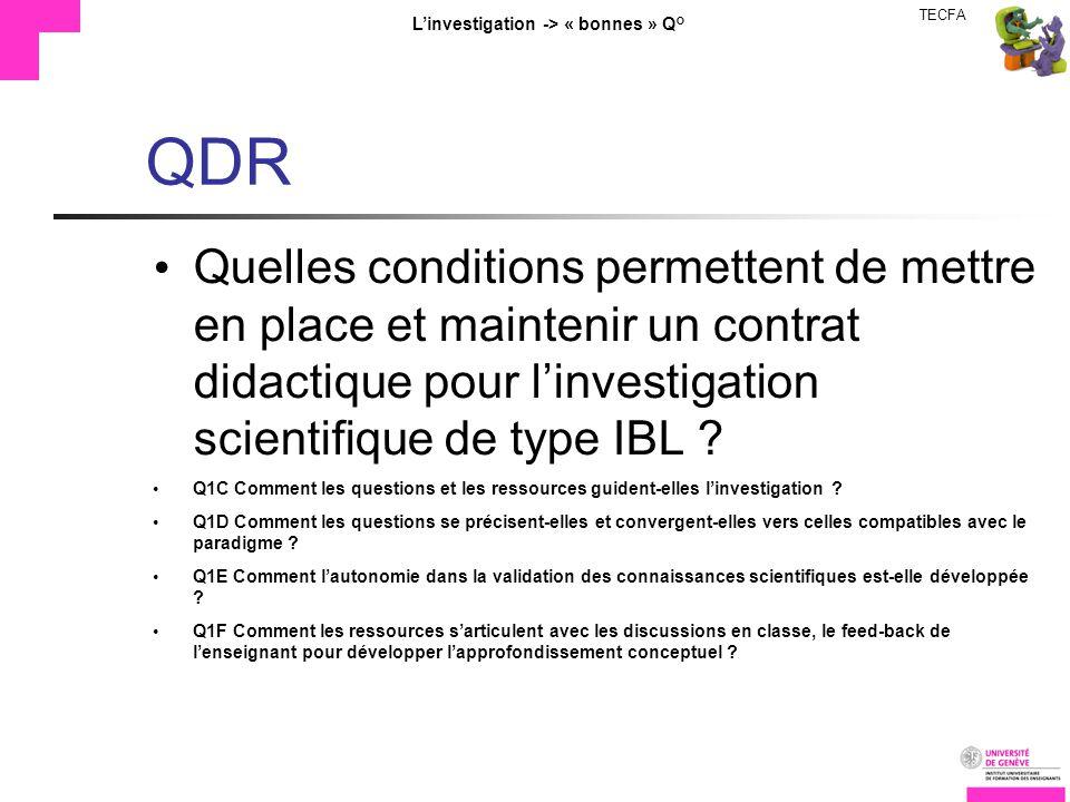TECFA Linvestigation -> « bonnes » Q° QDR Quelles conditions permettent de mettre en place et maintenir un contrat didactique pour linvestigation scientifique de type IBL .