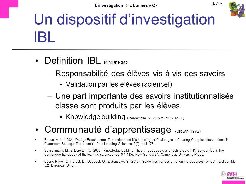 TECFA Linvestigation -> « bonnes » Q° Un dispositif dinvestigation IBL Definition IBL Mind the gap – Responsabilité des élèves vis à vis des savoirs Validation par les élèves (science!) – Une part importante des savoirs institutionnalisés classe sont produits par les élèves.