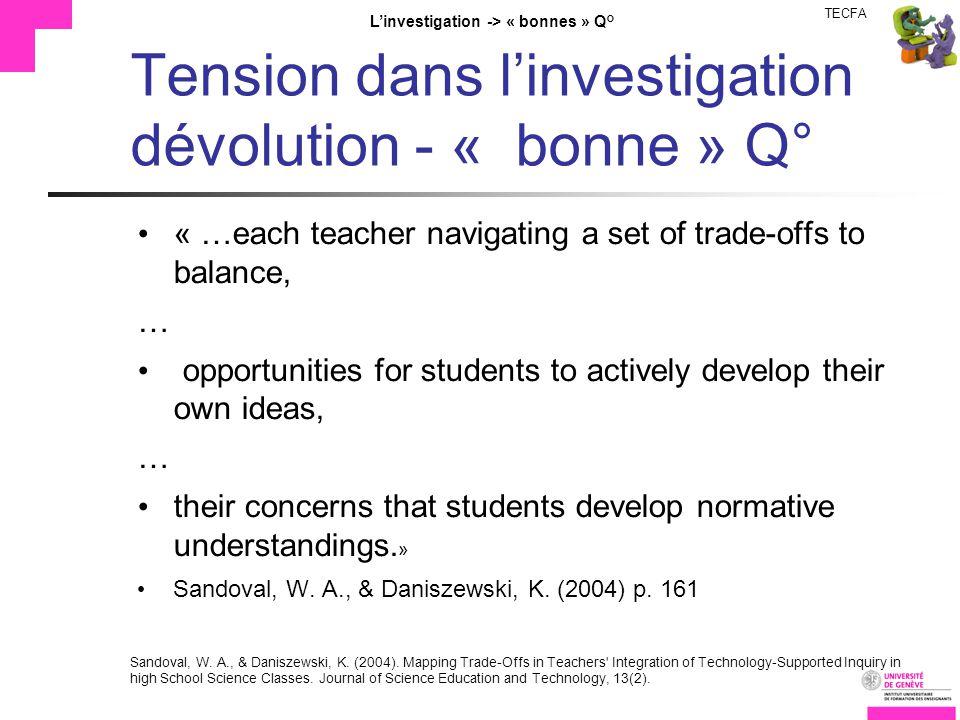 TECFA Linvestigation -> « bonnes » Q° Tension dans linvestigation dévolution - « bonne » Q° « …each teacher navigating a set of trade-offs to balance,
