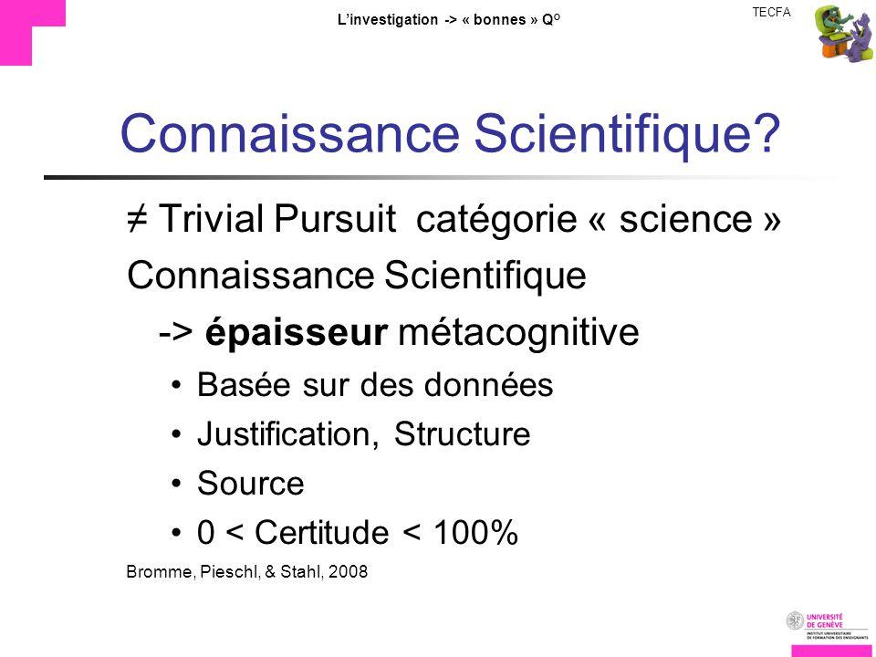 TECFA Linvestigation -> « bonnes » Q° Connaissance Scientifique? Trivial Pursuit catégorie « science » Connaissance Scientifique -> épaisseur métacogn