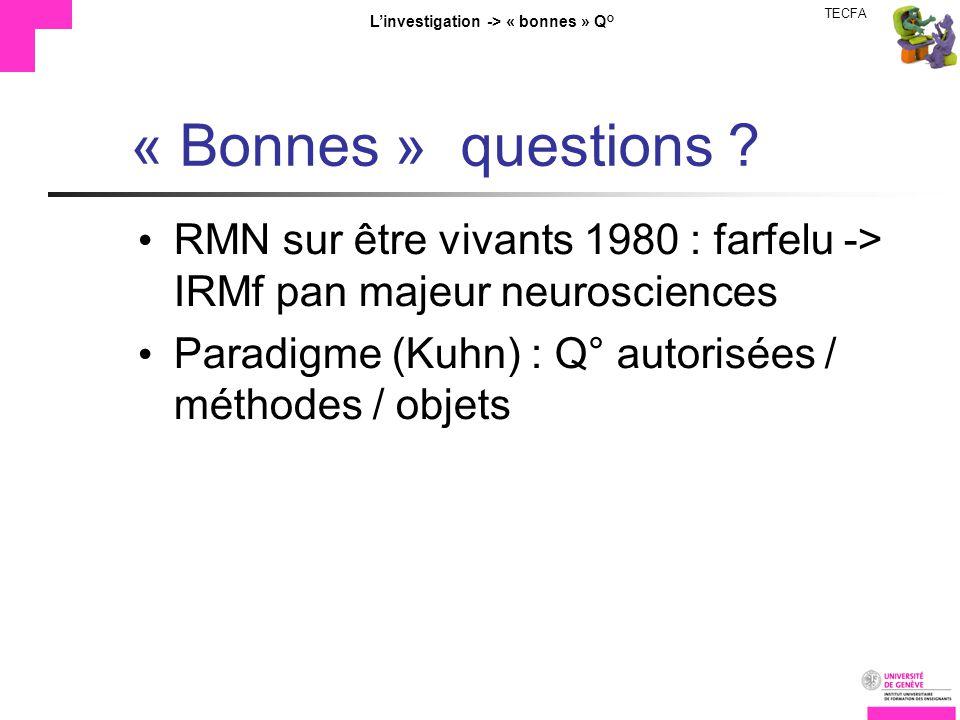 TECFA Linvestigation -> « bonnes » Q° « Bonnes » questions ? RMN sur être vivants 1980 : farfelu -> IRMf pan majeur neurosciences Paradigme (Kuhn) : Q