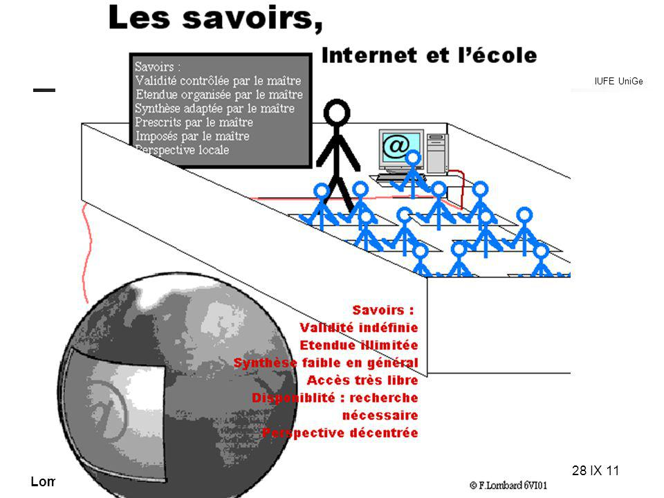IUFE UniGe MITIC… IUFE, 28 IX 11 Lombard F. UniGe Les savoirs internet et lécole