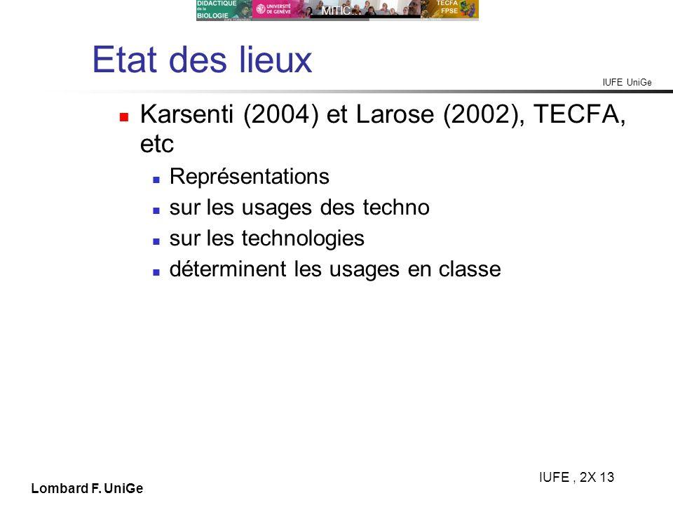 IUFE UniGe MITIC… IUFE, 2X 13 Lombard F. UniGe Etat des lieux Karsenti (2004) et Larose (2002), TECFA, etc Représentations sur les usages des techno s