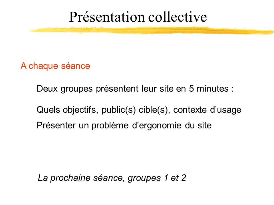 Présentation collective A chaque séance Deux groupes présentent leur site en 5 minutes : La prochaine séance, groupes 1 et 2 Présenter un problème dergonomie du site Quels objectifs, public(s) cible(s), contexte dusage