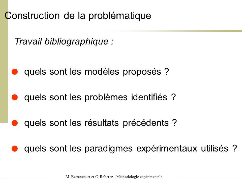 M. Bétrancourt et C. Rebetez - Méthodologie expérimentale Construction de la problématique Travail bibliographique : quels sont les résultats précéden