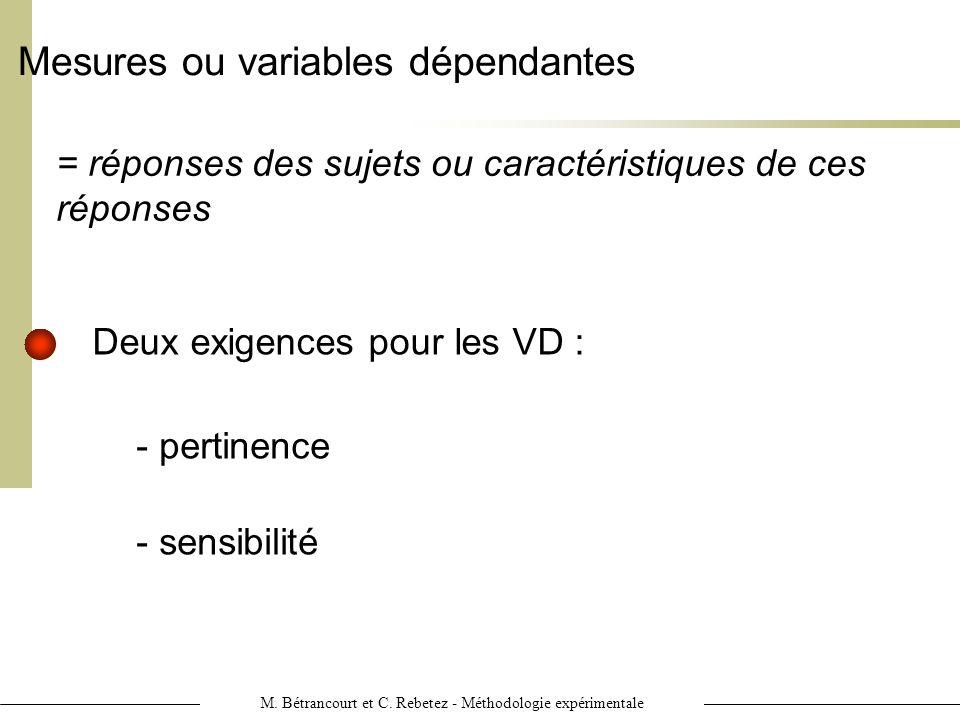 M. Bétrancourt et C. Rebetez - Méthodologie expérimentale Mesures ou variables dépendantes = réponses des sujets ou caractéristiques de ces réponses -