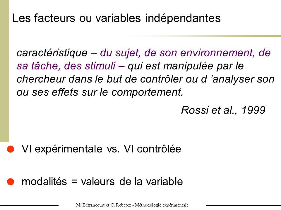 M. Bétrancourt et C. Rebetez - Méthodologie expérimentale Les facteurs ou variables indépendantes caractéristique – du sujet, de son environnement, de