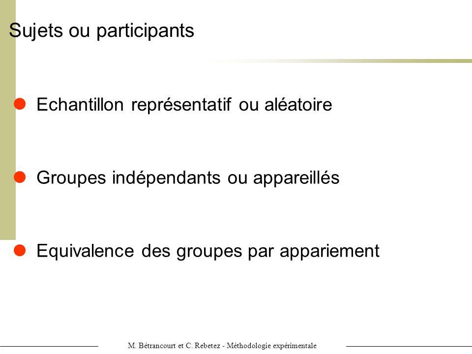 M. Bétrancourt et C. Rebetez - Méthodologie expérimentale Sujets ou participants Groupes indépendants ou appareillés Echantillon représentatif ou aléa