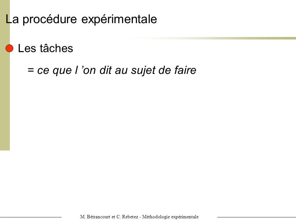 M. Bétrancourt et C. Rebetez - Méthodologie expérimentale La procédure expérimentale Les tâches = ce que l on dit au sujet de faire
