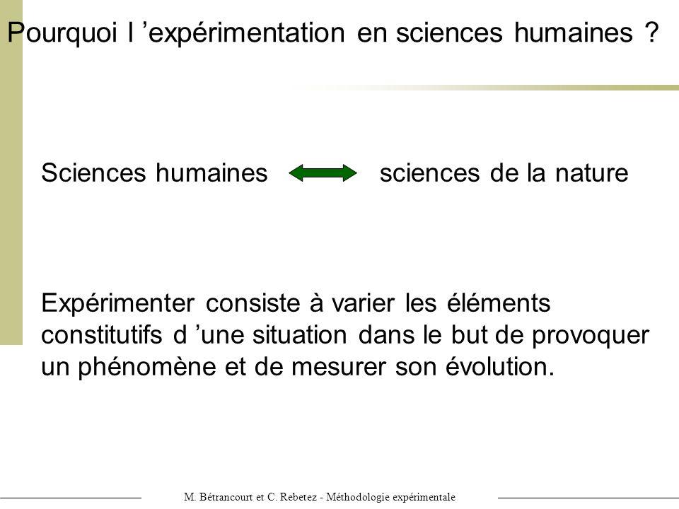 M. Bétrancourt et C. Rebetez - Méthodologie expérimentale Pourquoi l expérimentation en sciences humaines ? Expérimenter consiste à varier les élément
