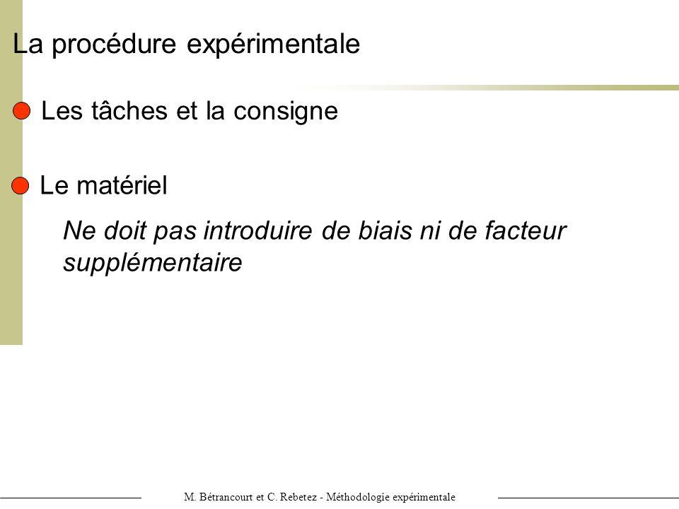 M. Bétrancourt et C. Rebetez - Méthodologie expérimentale La procédure expérimentale Les tâches et la consigne Le matériel Ne doit pas introduire de b