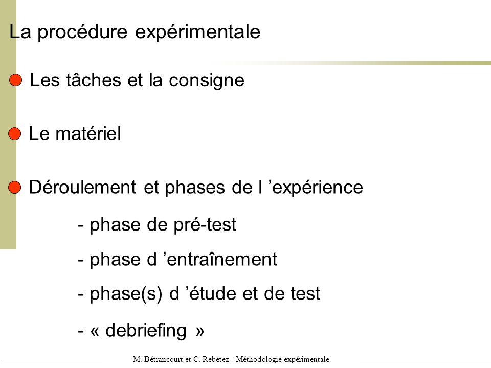 M. Bétrancourt et C. Rebetez - Méthodologie expérimentale La procédure expérimentale Les tâches et la consigne Le matériel Déroulement et phases de l