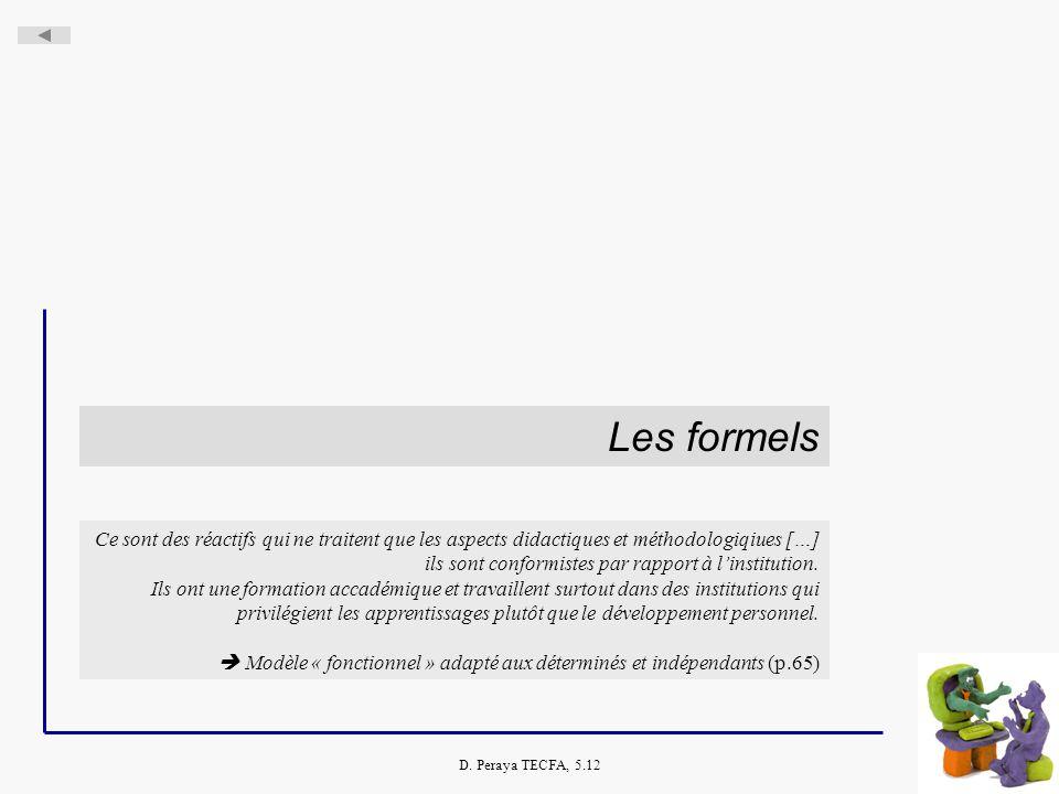 D. Peraya TECFA, 5.12 Les formels Ce sont des réactifs qui ne traitent que les aspects didactiques et méthodologiqiues […] ils sont conformistes par r