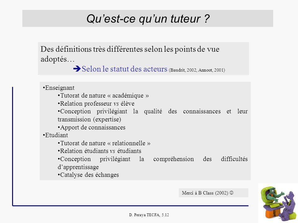 D. Peraya TECFA, 5.12 Quest-ce quun tuteur ? Des définitions très différentes selon les points de vue adoptés… Selon le statut des acteurs (Baudrit, 2