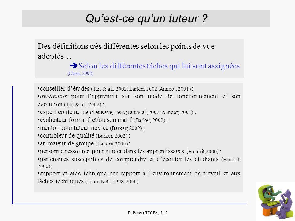 D. Peraya TECFA, 5.12 Quest-ce quun tuteur ? Des définitions très différentes selon les points de vue adoptés… Selon les différentes tâches qui lui so