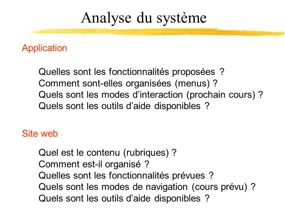 Analyse du système Application Quelles sont les fonctionnalités proposées ? Comment sont-elles organisées (menus) ? Quels sont les modes dinteraction