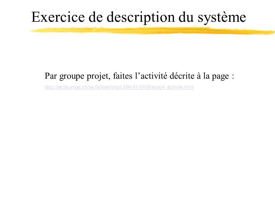 Exercice de description du système Par groupe projet, faites lactivité décrite à la page : http://tecfa.unige.ch/tecfa/teaching/LMRI41/0708/ergo4_acti