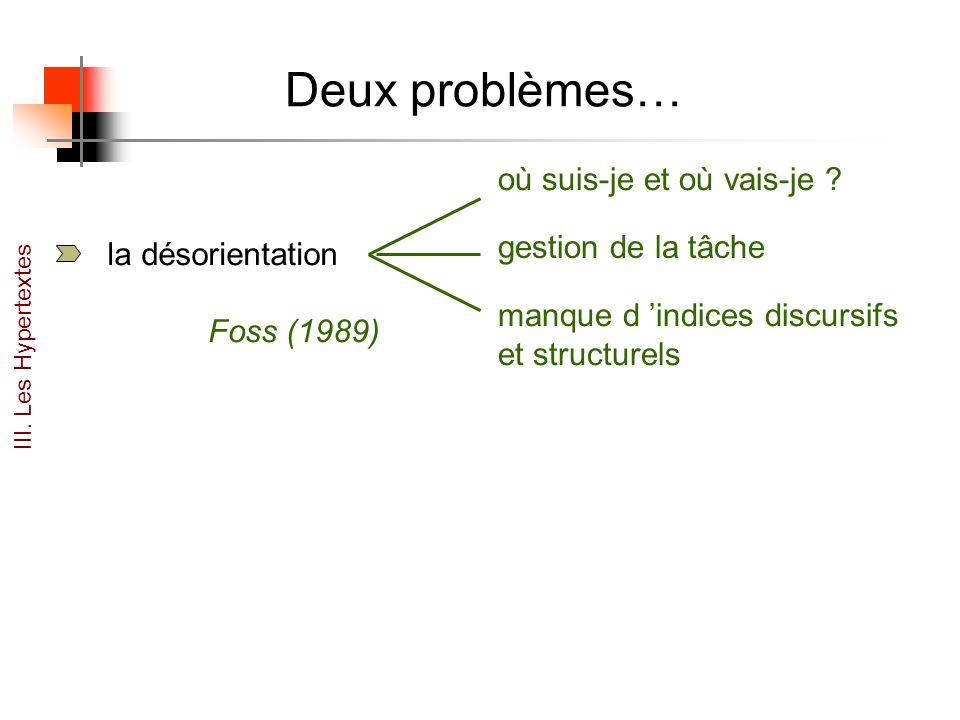 Deux problèmes… la désorientation gestion de la tâche où suis-je et où vais-je ? manque d indices discursifs et structurels Foss (1989) III. Les Hyper
