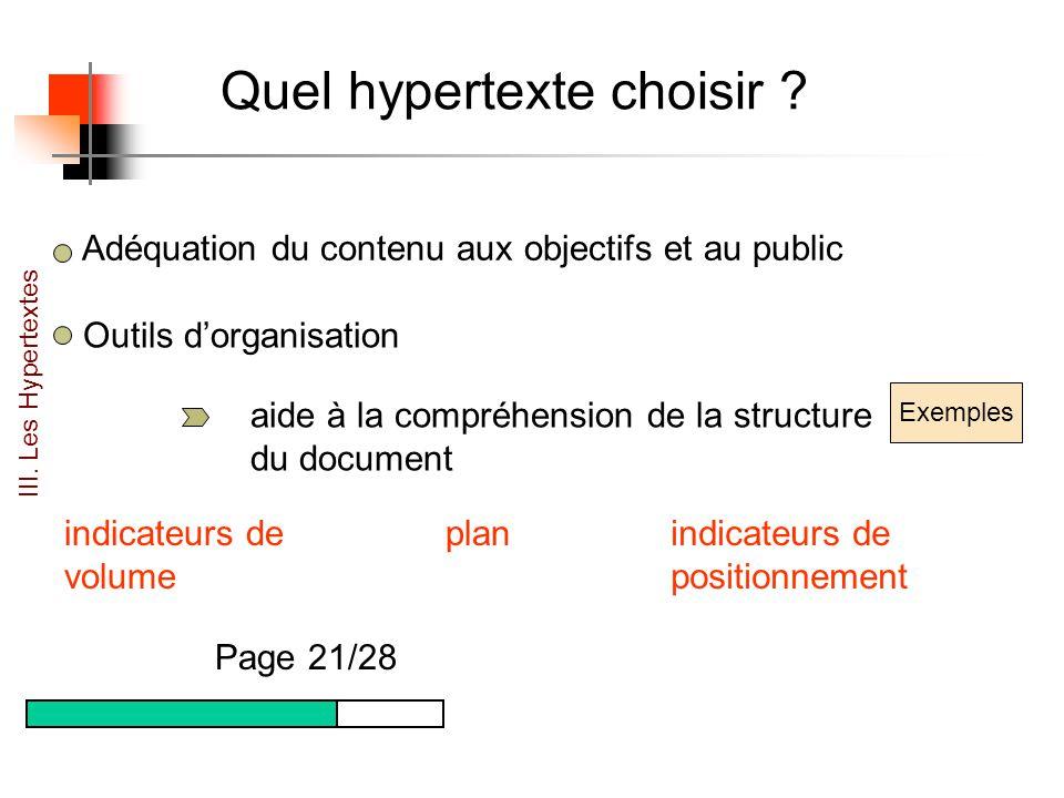 Quel hypertexte choisir ? Adéquation du contenu aux objectifs et au public Outils dorganisation aide à la compréhension de la structure du document Ex