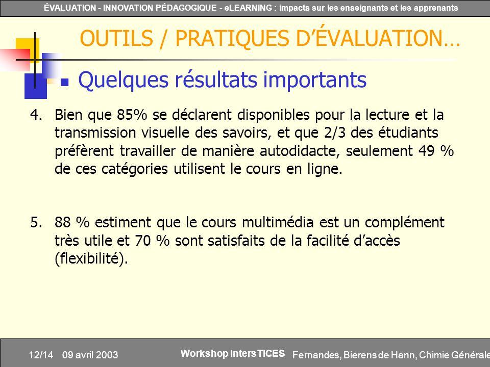 Fernandes, Bierens de Hann, Chimie Générale12/14 ÉVALUATION - INNOVATION PÉDAGOGIQUE - eLEARNING : impacts sur les enseignants et les apprenants Works