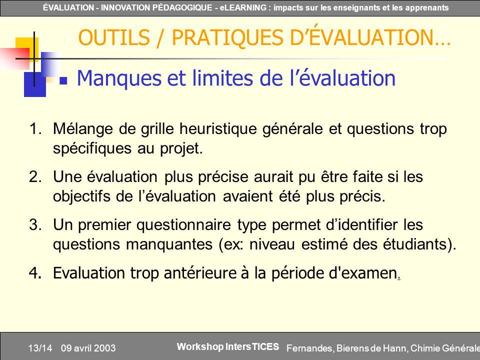 Fernandes, Bierens de Hann, Chimie Générale13/14 ÉVALUATION - INNOVATION PÉDAGOGIQUE - eLEARNING : impacts sur les enseignants et les apprenants Works