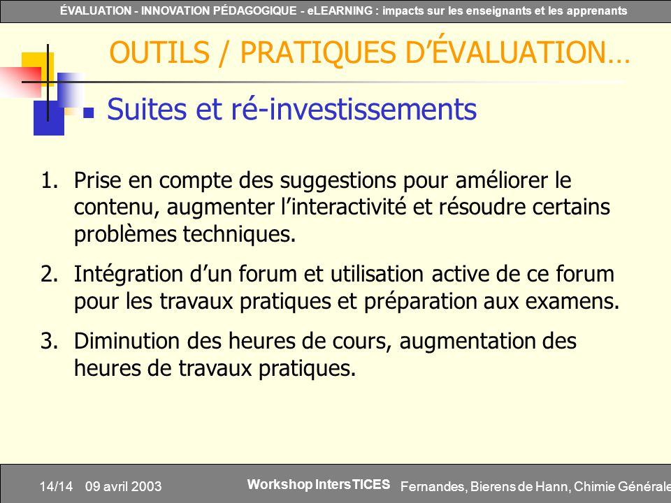 Fernandes, Bierens de Hann, Chimie Générale14/14 ÉVALUATION - INNOVATION PÉDAGOGIQUE - eLEARNING : impacts sur les enseignants et les apprenants Works