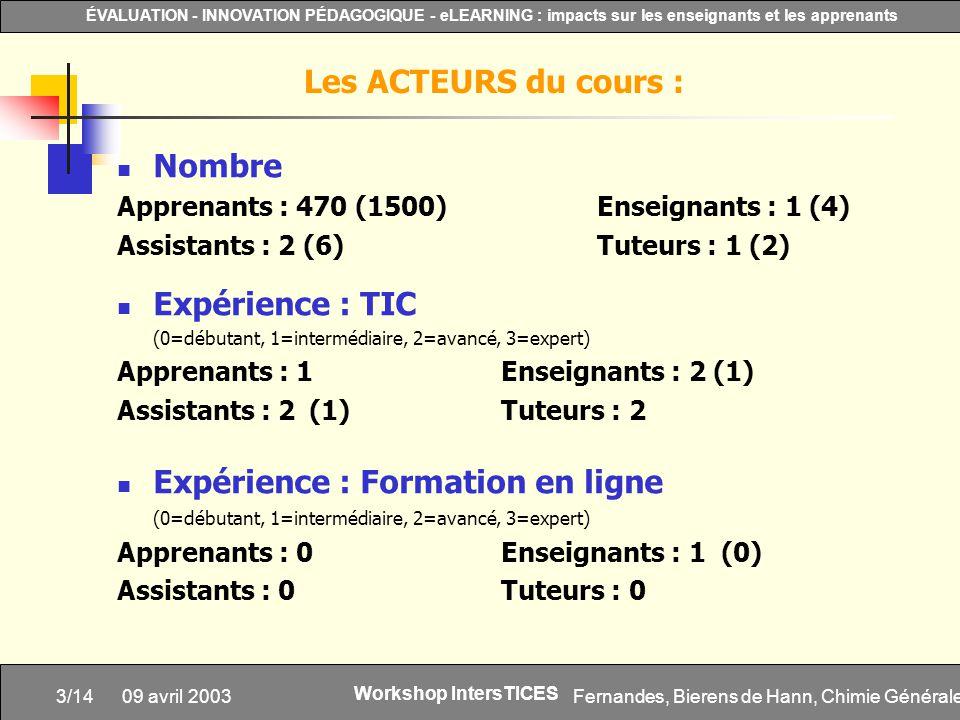 Fernandes, Bierens de Hann, Chimie Générale3/14 ÉVALUATION - INNOVATION PÉDAGOGIQUE - eLEARNING : impacts sur les enseignants et les apprenants Worksh