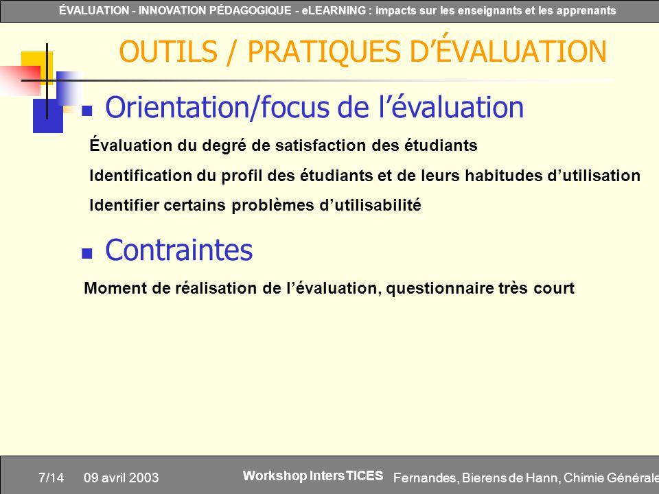 Fernandes, Bierens de Hann, Chimie Générale7/14 ÉVALUATION - INNOVATION PÉDAGOGIQUE - eLEARNING : impacts sur les enseignants et les apprenants Worksh