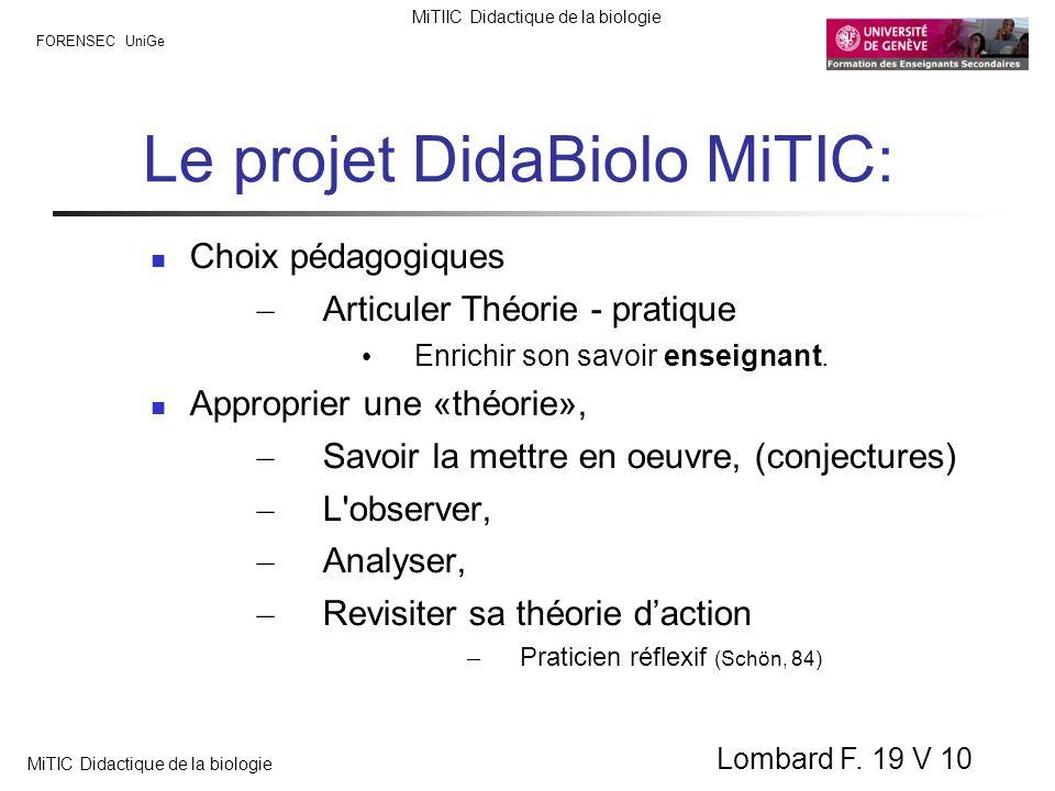 FORENSEC UniGe MiTIIC Didactique de la biologie MiTIC Didactique de la biologie Lombard F. 19 V 10 Le projet DidaBiolo MiTIC: Choix pédagogiques – Art