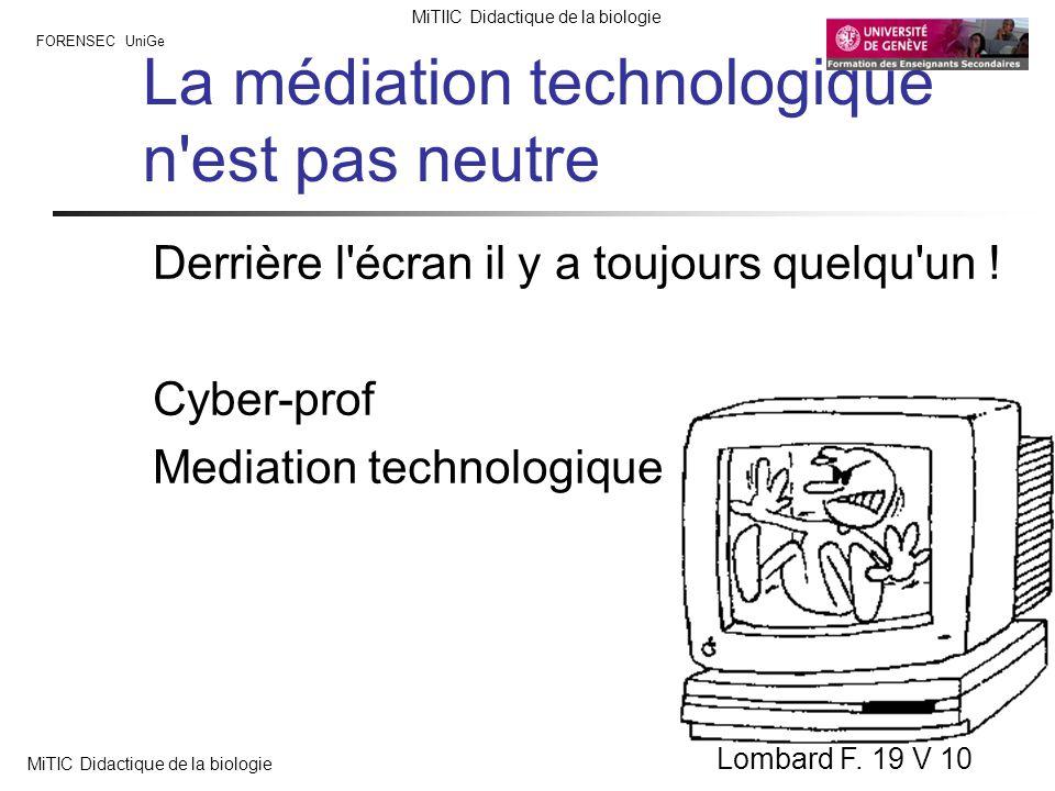 FORENSEC UniGe MiTIIC Didactique de la biologie MiTIC Didactique de la biologie Lombard F. 19 V 10 La médiation technologique n'est pas neutre Derrièr