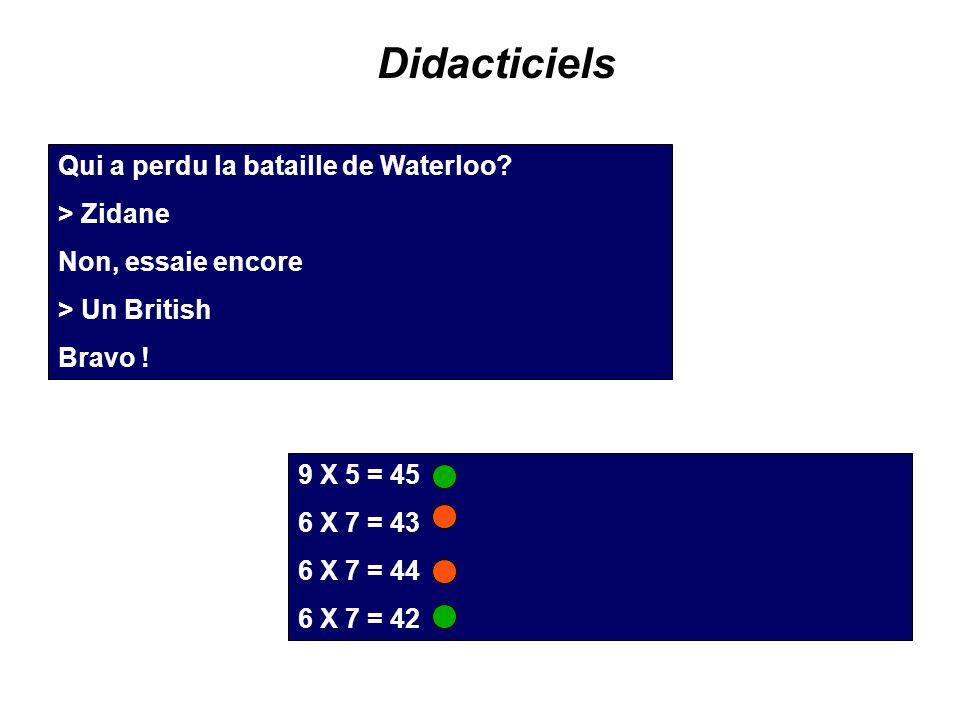 Didacticiels Qui a perdu la bataille de Waterloo? > Zidane Non, essaie encore > Un British Bravo ! 9 X 5 = 45 6 X 7 = 43 6 X 7 = 44 6 X 7 = 42
