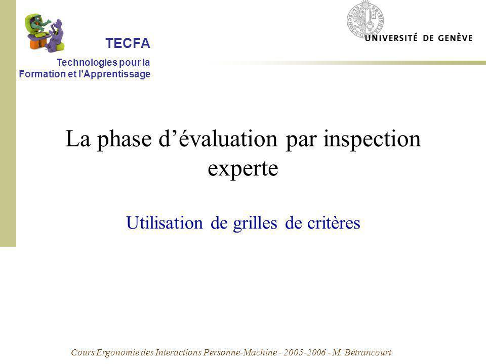 Cours Ergonomie des Interactions Personne-Machine - 2005-2006 - M. Bétrancourt La phase dévaluation par inspection experte Utilisation de grilles de c