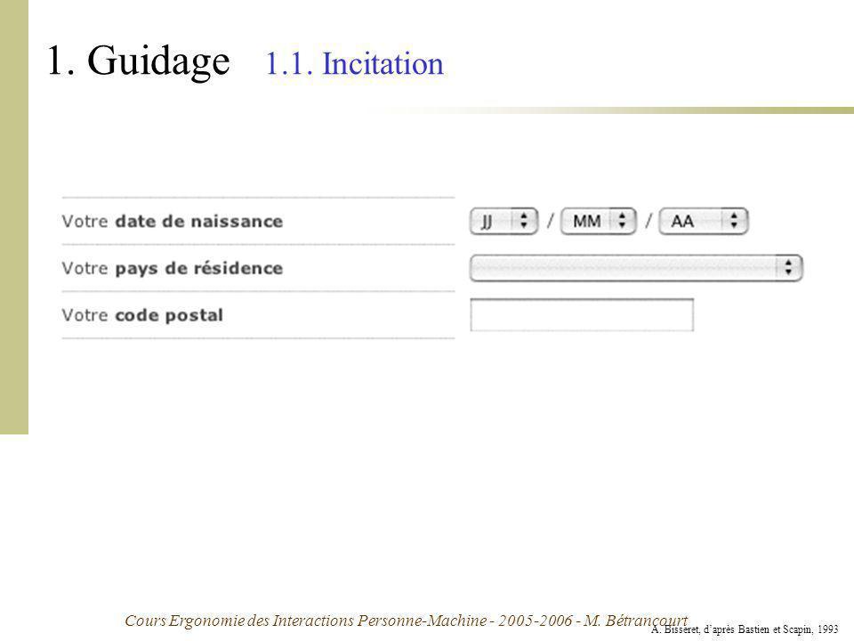 Cours Ergonomie des Interactions Personne-Machine - 2005-2006 - M. Bétrancourt 1. Guidage 1.1. Incitation A. Bisseret, daprès Bastien et Scapin, 1993