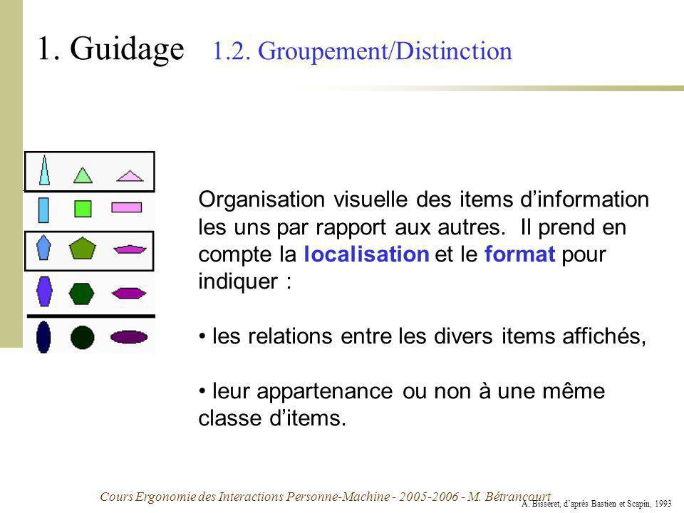 Cours Ergonomie des Interactions Personne-Machine - 2005-2006 - M. Bétrancourt 1. Guidage 1.2. Groupement/Distinction Organisation visuelle des items