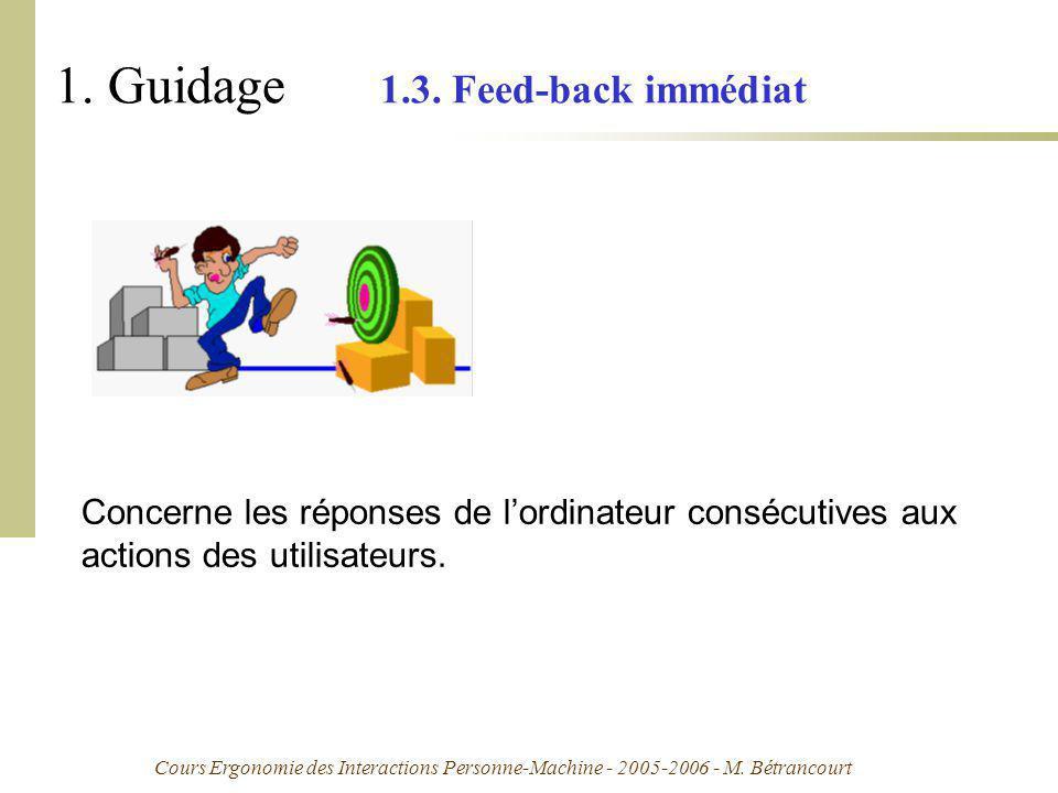 Cours Ergonomie des Interactions Personne-Machine - 2005-2006 - M. Bétrancourt 1. Guidage 1.3. Feed-back immédiat Concerne les réponses de lordinateur