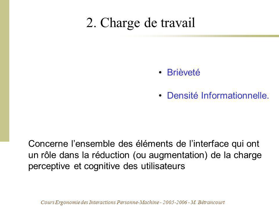 Cours Ergonomie des Interactions Personne-Machine - 2005-2006 - M. Bétrancourt 2. Charge de travail Concerne lensemble des éléments de linterface qui