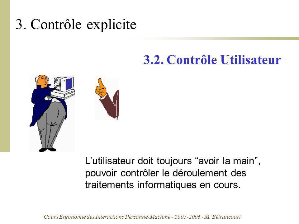 Cours Ergonomie des Interactions Personne-Machine - 2005-2006 - M. Bétrancourt 3. Contrôle explicite 3.2. Contrôle Utilisateur Lutilisateur doit toujo