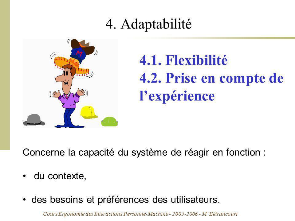 Cours Ergonomie des Interactions Personne-Machine - 2005-2006 - M. Bétrancourt 4. Adaptabilité Concerne la capacité du système de réagir en fonction :
