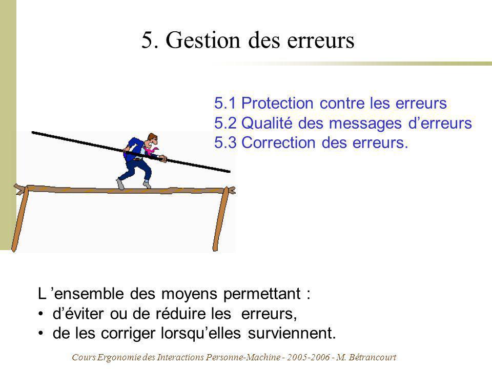 Cours Ergonomie des Interactions Personne-Machine - 2005-2006 - M. Bétrancourt 5. Gestion des erreurs 5.1 Protection contre les erreurs 5.2 Qualité de