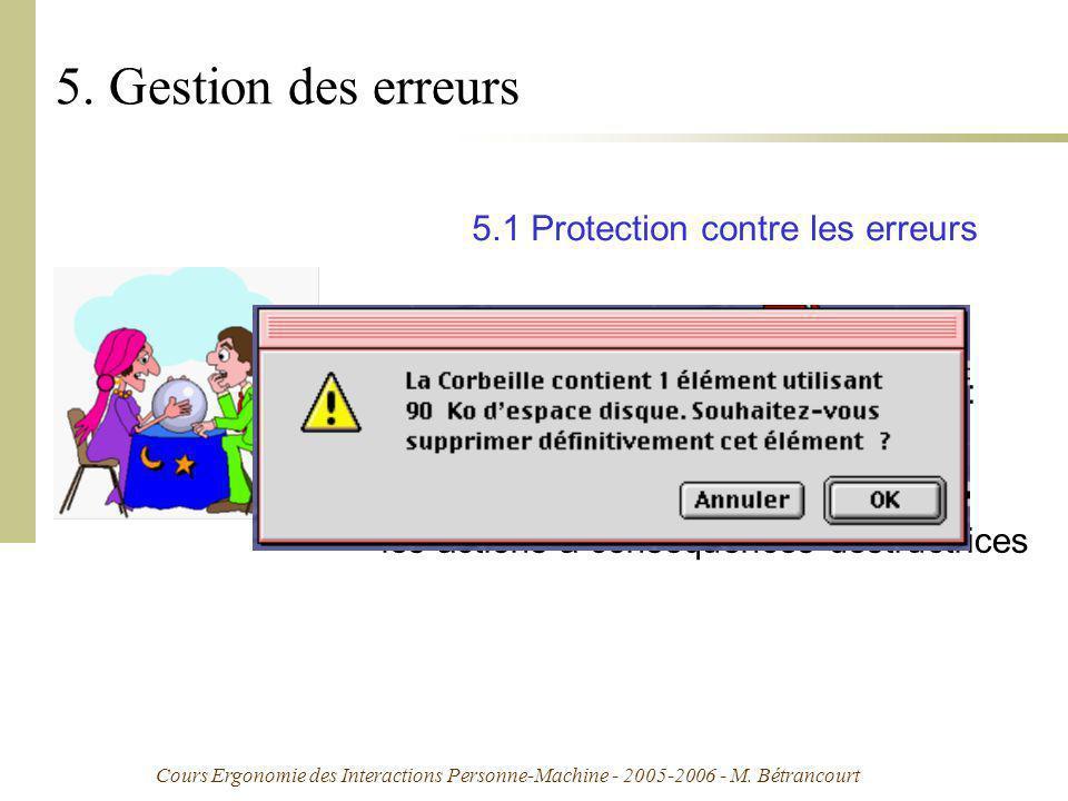 Cours Ergonomie des Interactions Personne-Machine - 2005-2006 - M. Bétrancourt 5. Gestion des erreurs réfère aux moyens disponibles pour détecter et p
