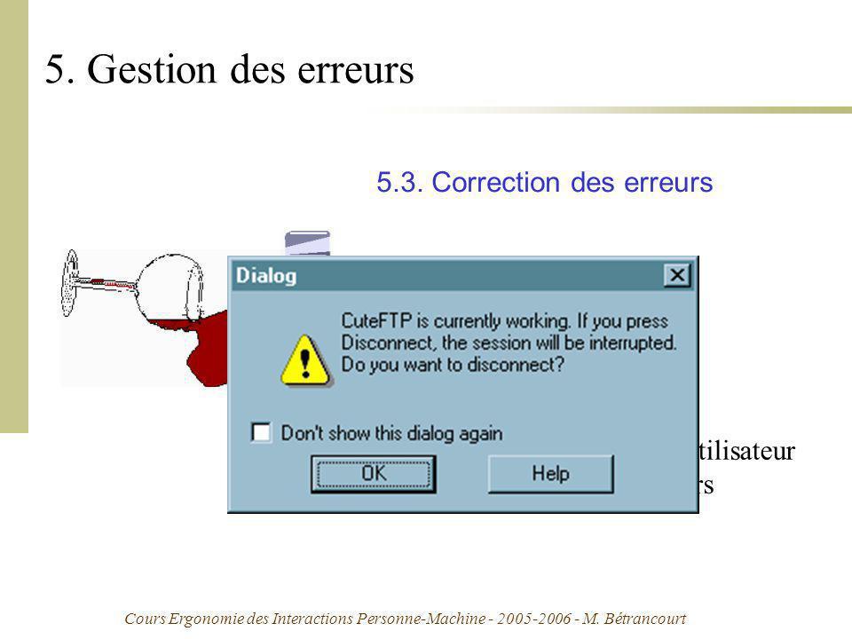 Cours Ergonomie des Interactions Personne-Machine - 2005-2006 - M. Bétrancourt 5. Gestion des erreurs 5.3. Correction des erreurs réfère aux moyens di