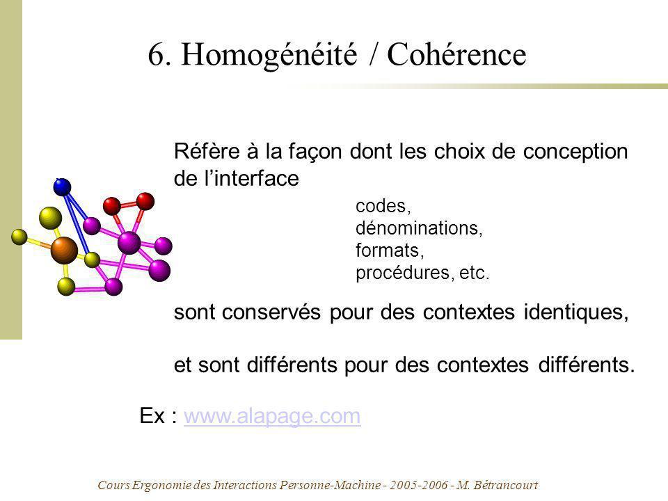 Cours Ergonomie des Interactions Personne-Machine - 2005-2006 - M. Bétrancourt 6. Homogénéité / Cohérence Réfère à la façon dont les choix de concepti