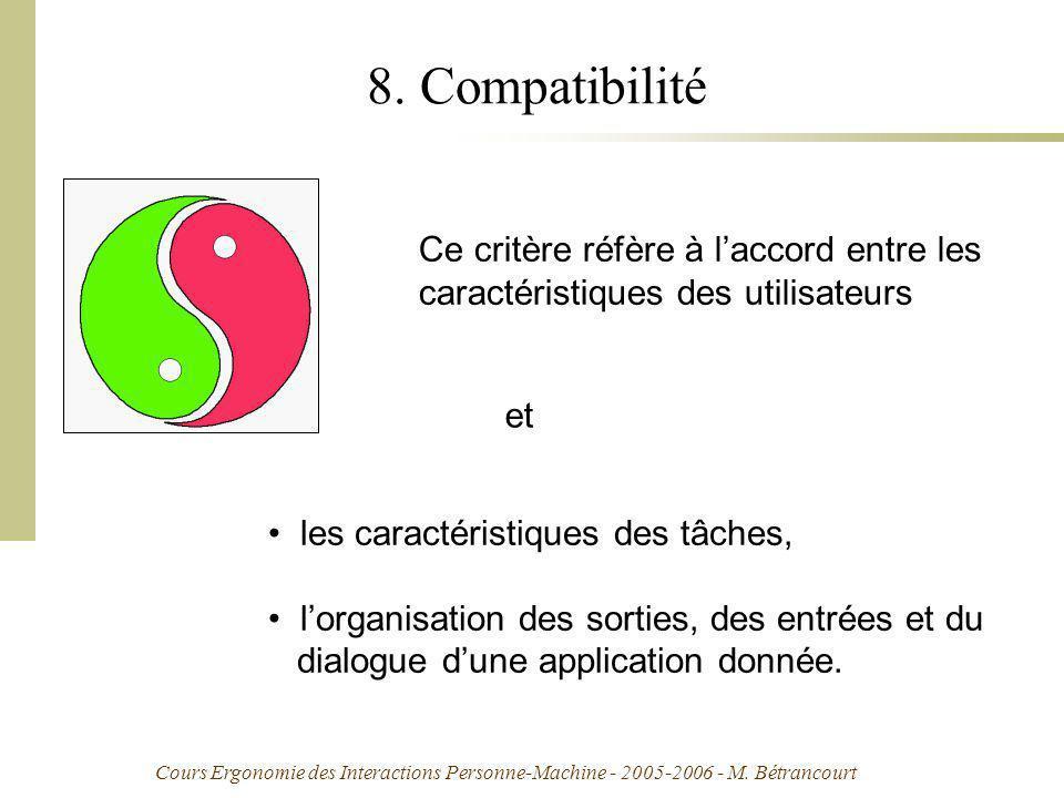Cours Ergonomie des Interactions Personne-Machine - 2005-2006 - M. Bétrancourt 8. Compatibilité Ce critère réfère à laccord entre les caractéristiques